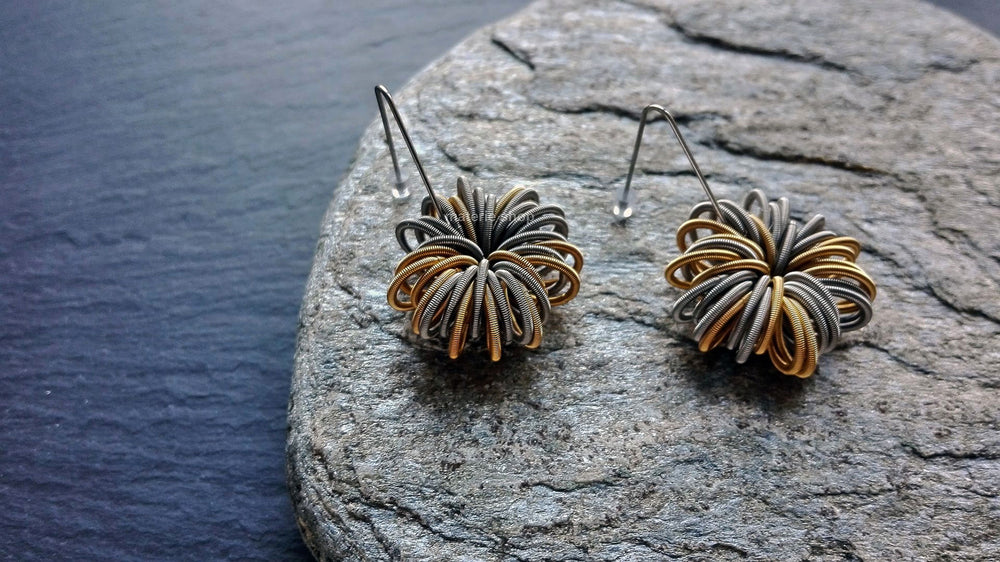 Earrings, steel/gold springs