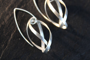 Earrings, white silver