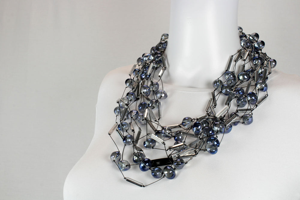 Necklace, silver blue