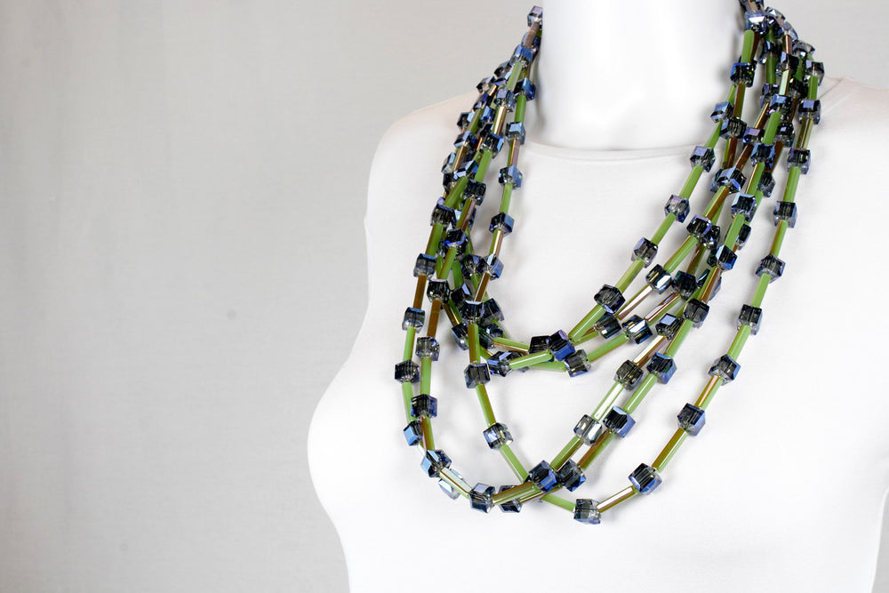 Necklace, green blue