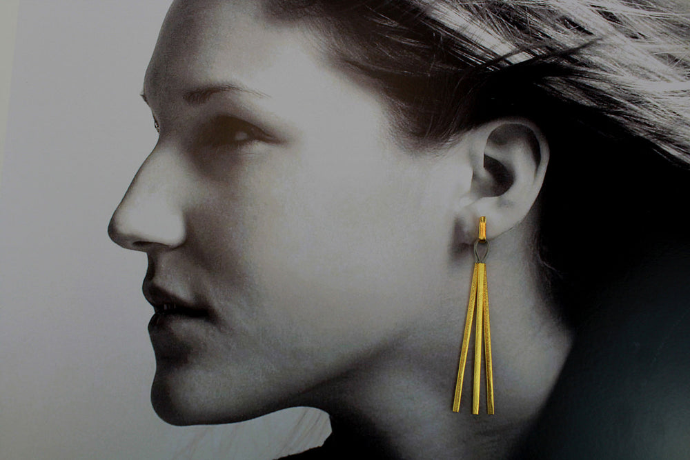 Earrings, pure silver gold-plated