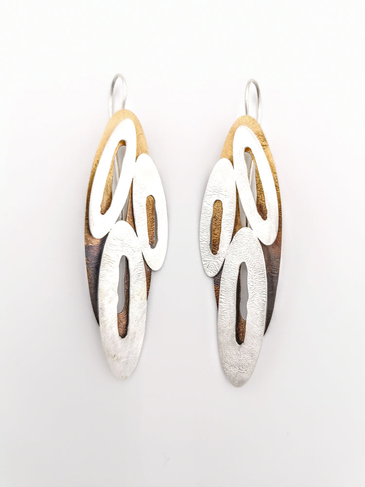 Earrings, 3 ovals