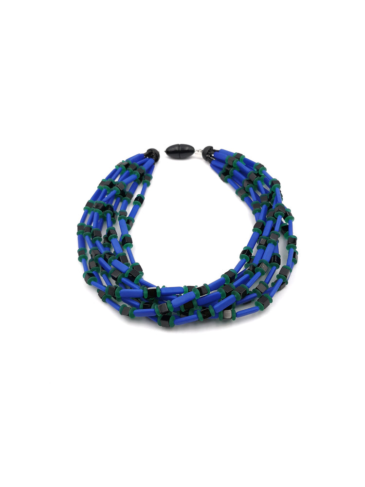 Blue, Satin White and Black Necklace