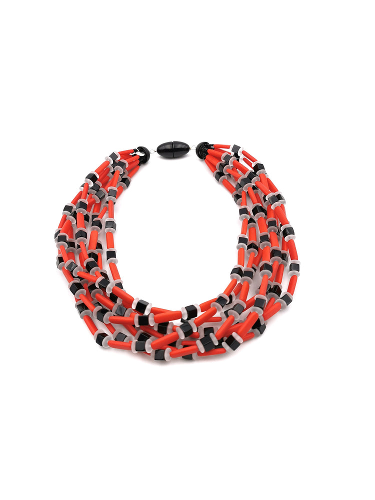 Red, Satin White and Black Necklace