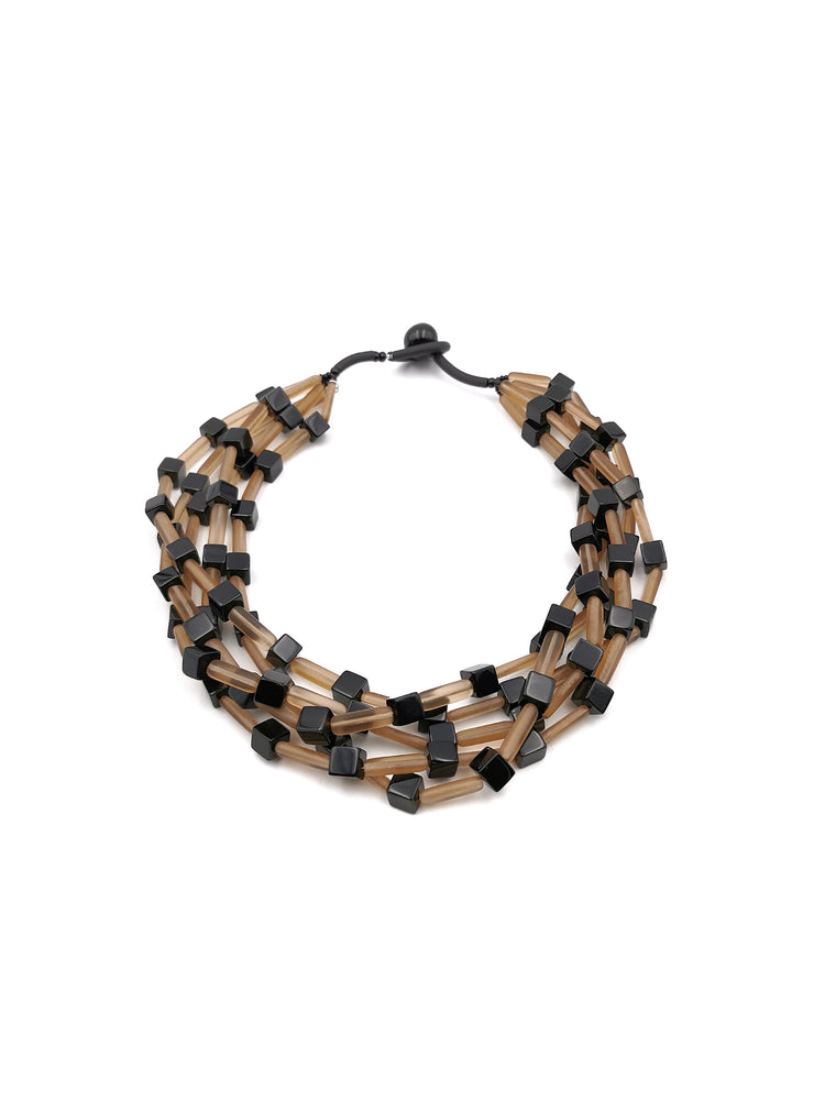 Mink and black Necklace