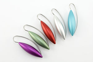 Earrings, fuchsia anodised aluminium