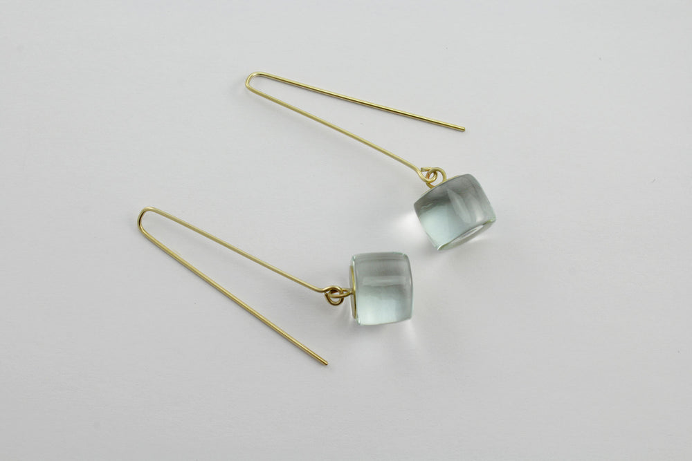 Earrings, transparent glass