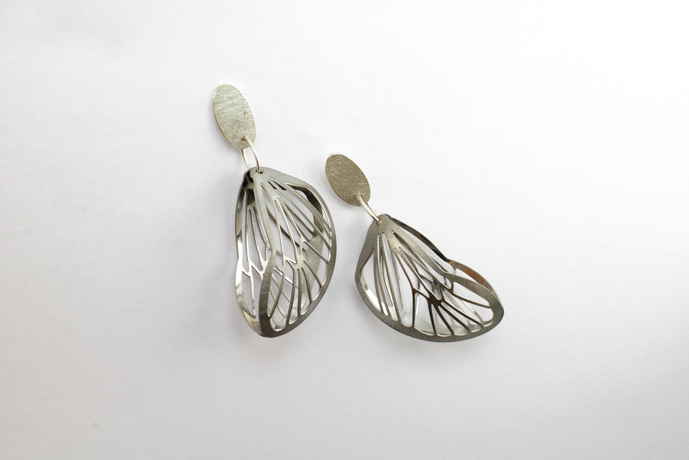 Earrings, steel and silver