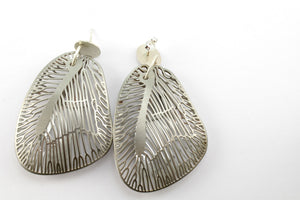 Earrings, stainless steel and silver