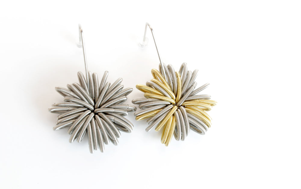Earrings, steel