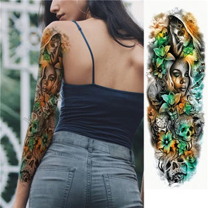 Edgy Waterproof Sleeve Tattoo - YouTech.Me