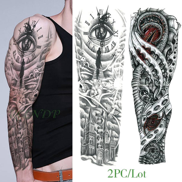 Large Full-Arm Waterproof Macho Tattoo - YouTech.Me