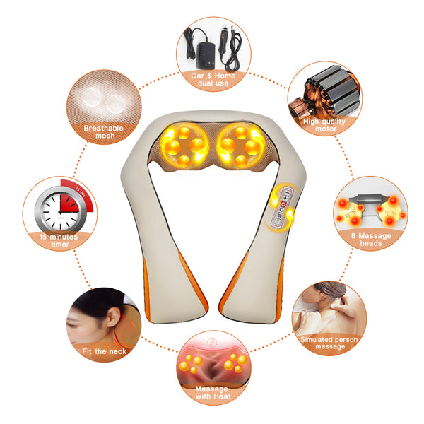 Portable Shiatsu Back and Neck Heat Massager - YouTech.Me