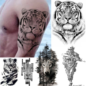 Big Black Waterproof Tiger-Wolf Tattoo