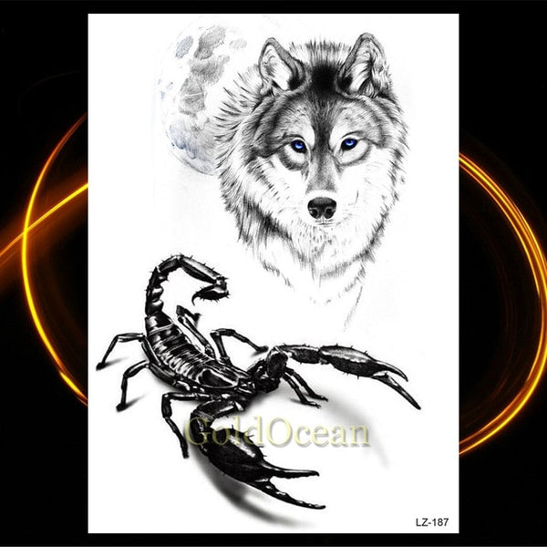 Big Black Waterproof Tiger-Wolf Tattoo - YouTech.Me