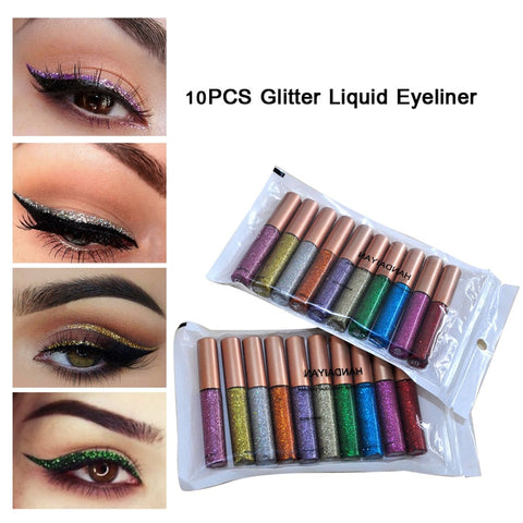 10 Colors Glitter Liquid Eyeliner - YouTech.Me