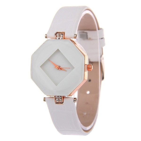 Ladies Gem Cut Geometry Crystal Leather Quartz Wristwatch - YouTech.Me