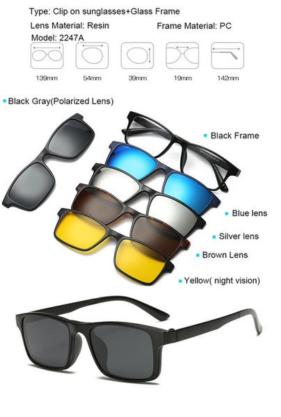 5 in 1 Magnetic Lens Swappable Sunglasses - YouTech.Me