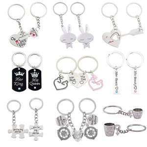 2 Pcs/Set Lovers Keychain Set