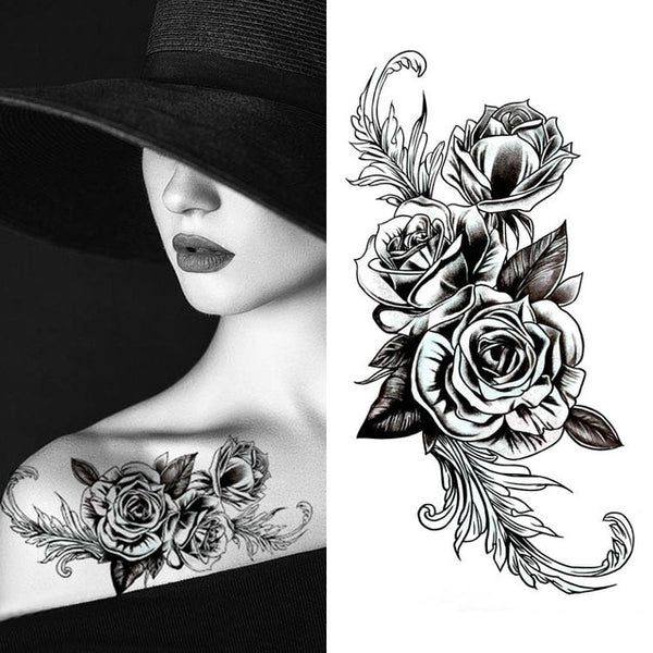 Sophisticated Flower Waterproof Sexy Tattoo - YouTech.Me