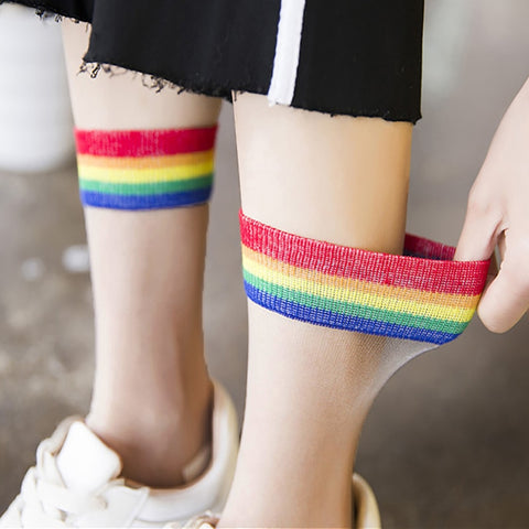Ins Style Fashion Transparent Rainbow Short Socks Thin Harajuku Ankle Cute Socks Hipster