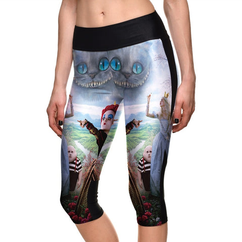 Princess And Witch Pattern Digital Printing Side Pocket Breathable High Waist Capril Pants Summer Fashion Elastic Force Leggings
