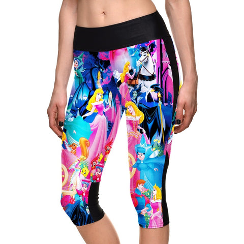 Princess Witch Cartoon Sportswear Leggings Side Pocket Elastic Force Breathable CapriPants