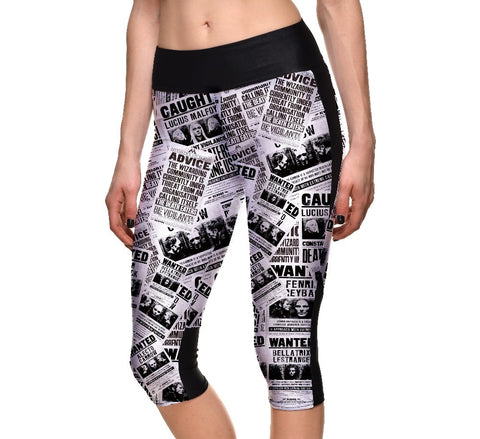 Black White Newspaper Pattern Print  Capri Pants High Waist Breathable Polyester Leggings