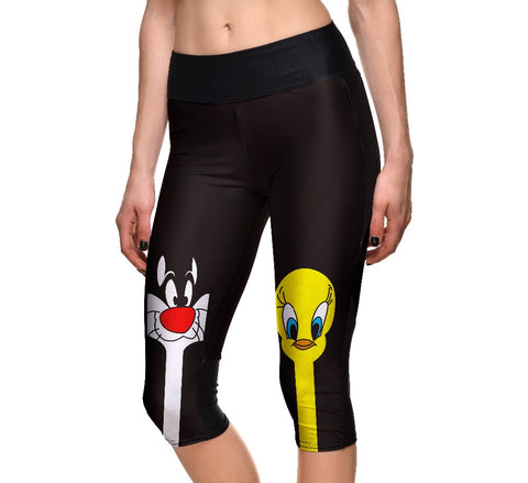 Push Up Cute Cartoon Duck Cat Pattern Print Capril Pants Workout High Waist Legging Side Pocket