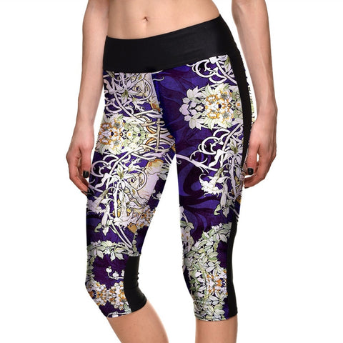 Women High Waist Blue Flowers Pattern Printing Sportswear Fitness Leggings Workout Breathable Polyester Capril Pants For Ladies