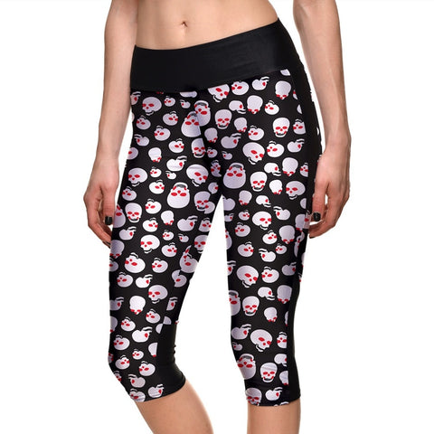 Sportswear Push Up Workout Polyester Digital Printing Capri Pants High Waist Leggings