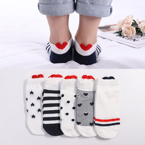 5Pairs Cotton Socks Pink Cute Cat Ankle Short Casual Animal Ear Red Heart