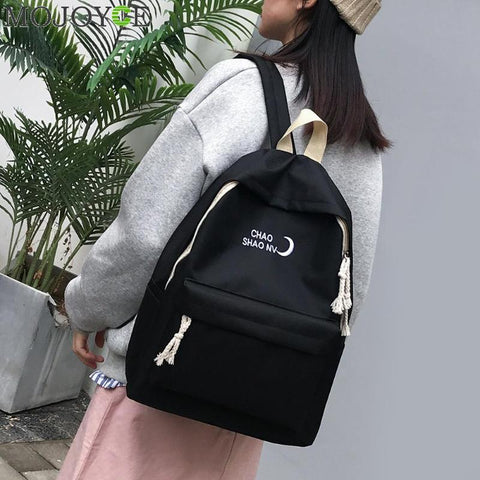 High Quality Canvas Printed Travel Moon Print Backpack Korean Style  Travel Bag  Laptop Backpack