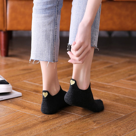 Fashion Socks New Spring 1 Pair Ankle Socks Cotton Color Cute Heart Socks 4 Pairs