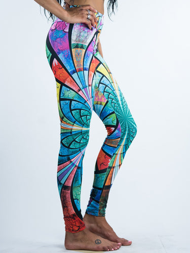 Delicate Medievall Stained Glass Painting Design Leggings