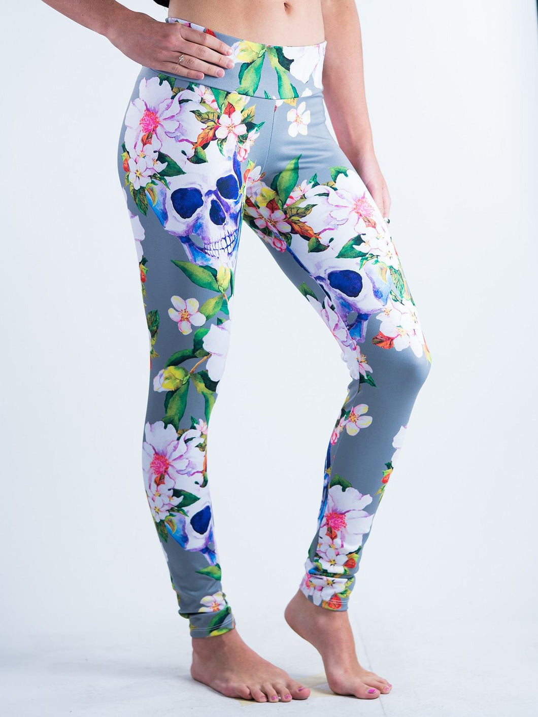 Gothic Skull & Flower Bloom Design Leggings