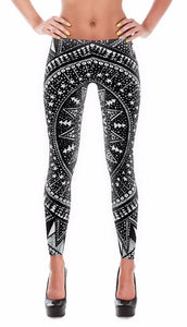 Inspiring Hindu Forest Line Art Design Leggings