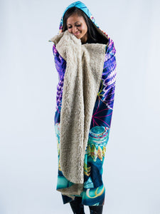 Meditation & Leopard Design Hooded Blanket