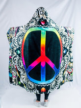 Load image into Gallery viewer, Peace Sign Design Hooded Blanket