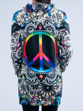 Load image into Gallery viewer, Peace Sign Hooded Mini Dress