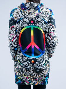 Peace Sign Hooded Mini Dress