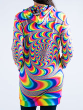 Load image into Gallery viewer, Psychedelic Spiral Design Hooded Mini Dress