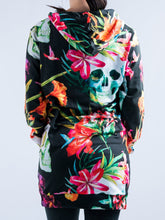 Load image into Gallery viewer, Skull and Flowers Design Hooded Mini Dress