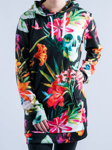 Skull and Flowers Design Hooded Mini Dress