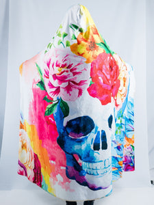 Flowers and Skull Design Hooded Blanket