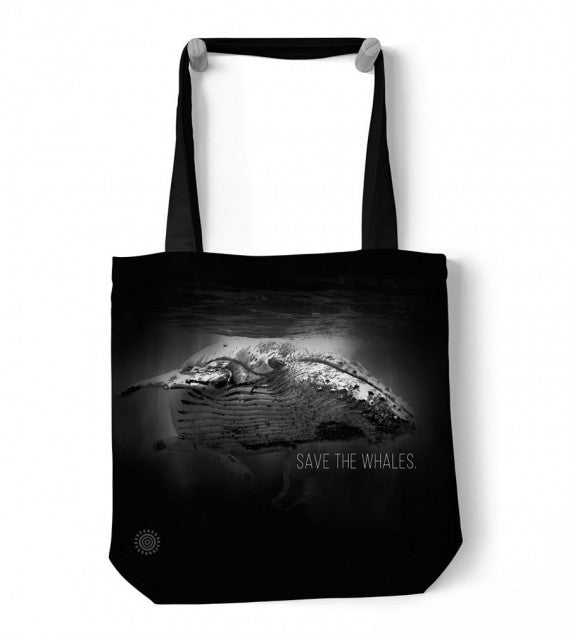 SAVE THE WHALES BLACK AQUATIC TOTE