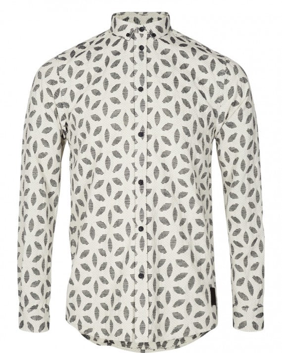 KONRAD PETAL PRINT SHIRT LIGHT GREY