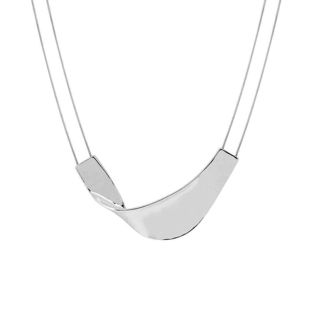Wave Necklace Rhodium