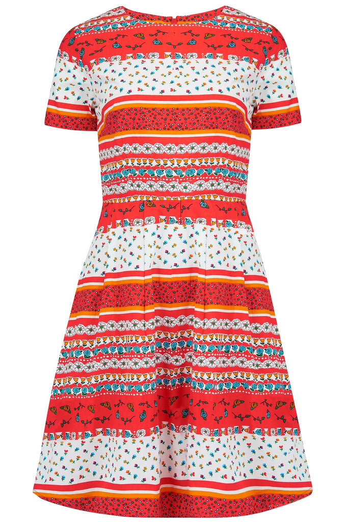Bella Patchwork Posy Fit and Flare Dress