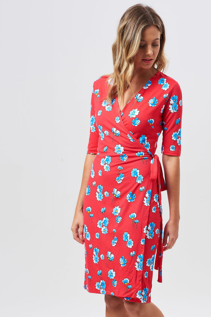 Marian Cosmos Floral Wrap Dress